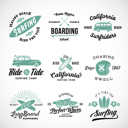 Vector Retro Style Surfing Labels,  T-shirt Graphic Design Featuring Surfboards, Surf Woodie Car, Motorcycle Silhouette, Helmet and Flowers. Isolated. Good for Posters etc.