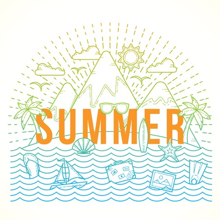 palmtrees: Line Style Flat Vector Color Summer Illustration with Isle, Ocean, Mountains, Palmtrees, Shell, Yacht and Travel Icons. Isolated.