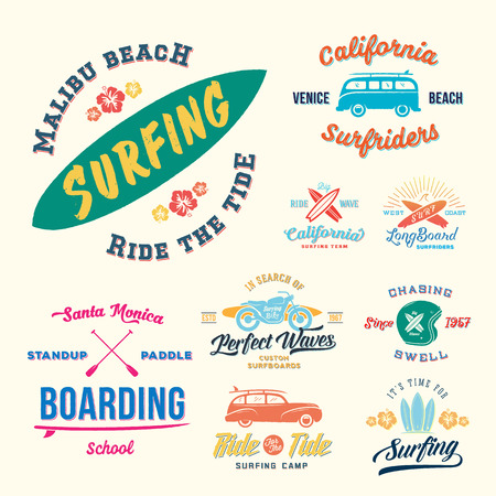 malibu: Vector Retro Style Surfing Labels, or T-shirt Graphic Design Featuring Surfboards, Surf Woodie Car, Motorcycle Silhouette, Helmet and Flowers. Isolated. Good for Posters etc. Illustration
