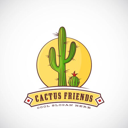 yellow flower tree: Cactus Friends Abstract Vector Illustration, Label   Template with Typography. Isolated.