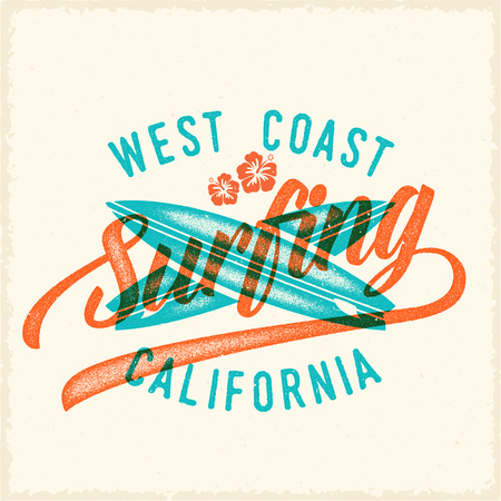 surf team: Retro Print Style Surfing Vector Label  Template. Two Crossed Surfboards and Vintage Typography. Weathered Look T Shirt Print with Shabby Textures. Also Good For Apprel, Posters, etc.