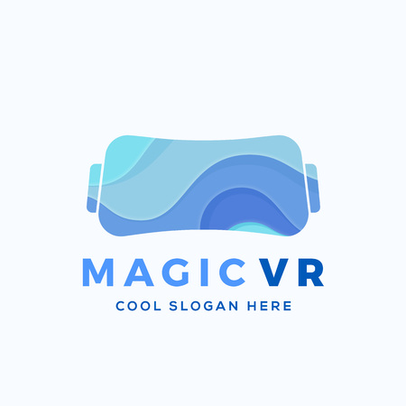 Magic Virtual Reality Abstract Vector Illustration, Icon, Sign,   Template. Electronic Glasses Headset Silhouette with Blue Waves. Isolated.