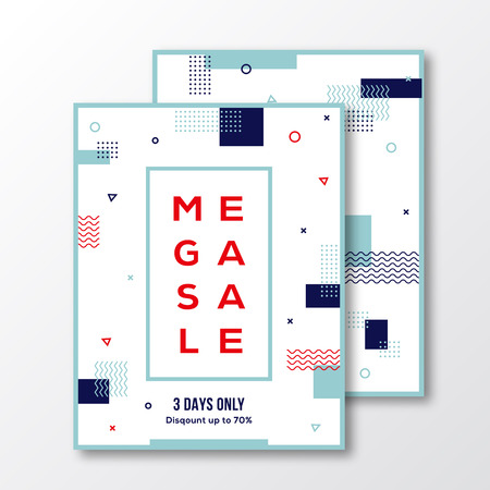 Season Mega Sale Poster, Card or Flyer Template. Modern Abstract Flat Swiss Style Background with Decorative Stripes, Zig-Zags and Minimal Typography. White, Red, Blue Colors. Soft Realistic Shadows. Isolated.