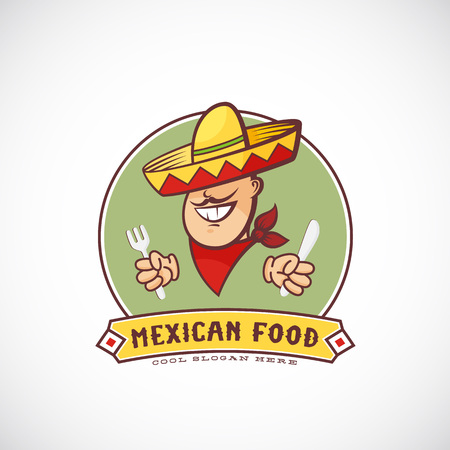 bandana: Mexican Food Abstract Vector Sign Template for Restaurants, Cafe, Meal Delivery. Smiling Man in Traditional Sombrero, Bandana, holding Fork and Knife. Bright Colors. Isolated.