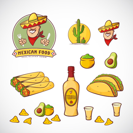 nachos: Mexican Food Vector Illustrations Set with Template for Restaurant Menu, Cafe, Meal Delivery. Smiling Man in Traditional Sombrero, Tacos, Burritos, Tequila, etc. Bright Colors. Isolated. Illustration