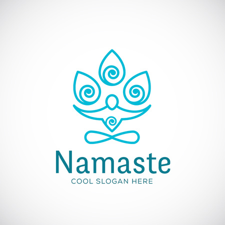 namaste: Yoga Namaste or Zen Meditation Abstract Vector Linear Style Sign, Symbol, Template. Isolated.