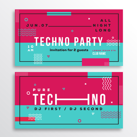 music dj: Night Techno Party Club Invitation Card or Flyer Template. Modern Abstract Flat Swiss Style Background with Decorative Stripes, Zig-Zags and Typography. Pink, Blue Colors. Soft Realistic Shadows. Isolated.