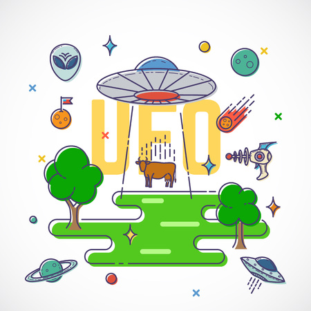 abduction: UFO Abducts Cow Abstract Vector Flat Style Illustration With Alien Elements, Planets, Space, etc. Isolated.