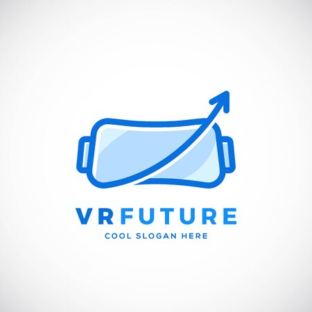 Virtual Reality Future Abstract Vector Sign, Symbol or Logo Template with Typography. Flat Outline Style. Isolated.