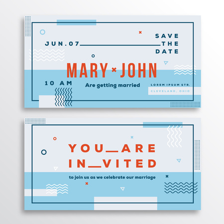 adress: Wedding Invitation Card Template. Modern Abstract Flat Swiss Style Background with Decorative Stripes, Zig-Zags and Typography. Light Blue, Red Colors. Isolated. Soft Realistic Shadows.