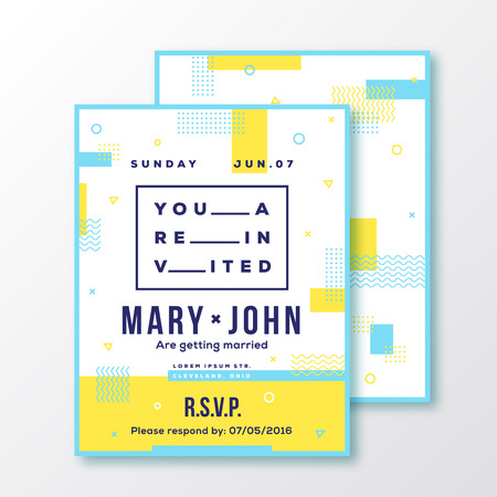 adress: Wedding, Event, Party Invitation Card or Poster Template. Modern Abstract Flat Swiss Style Background with Decorative Stripes, Zig-Zags and Typography. Red, Blue Colors. Soft Realistic Shadows. Isolated.