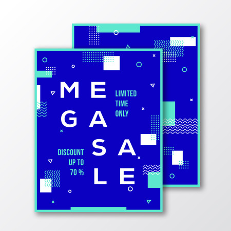 soft colors: Mega Sale Season Poster, Card or Template. Modern Abstract Flat Swiss Style Background with Decorative Stripes, Zig-Zags, Minimal Typography. White, Blue Colors. Soft Realistic Shadows. Isolated Illustration