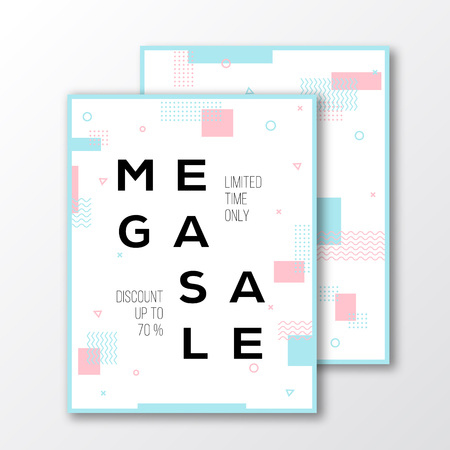 soft colors: Mega Sale Season Poster, Card or Template. Modern Abstract Flat Swiss Style Background with Decorative Stripes, Zig-Zags, Creative Typography. Pink, Mint Colors. Soft Realistic Shadows. Isolated Illustration