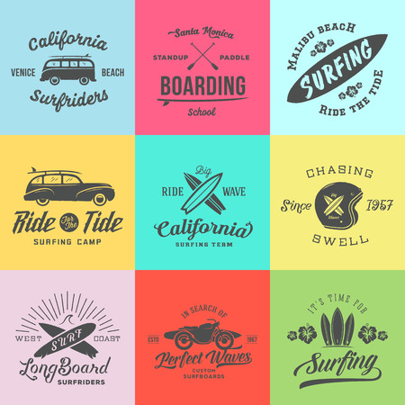 malibu: Retro Style Surfing Labels, or T-shirt Graphic Design Featuring Surfboards, Surf Woodie Car, Motorcycle Silhouette, Helmet and Flowers. Isolated. Good for Posters etc. On Colorful Squares