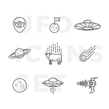 unidentified: Outline Style Abstract UFO or Alien Icons Set. Premium Space Symbols and Signs. Isolated.