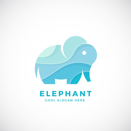 tiny: Tiny Elephant Abstract Template, Sign or Icon. Creative Stylisation. Isolated. Illustration