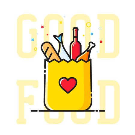 pan y vino: La comida es buena bolsa de papel con el s�mbolo del coraz�n, pan, vino, pescado, etc. Resumen Ilustraci�n. Compras o entrega sesi�n. Icono de catering. Aislado.