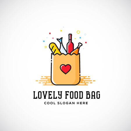 Lovely Food Paper Bag with Heart Symbol, Bread, Wine, Fish, etc. Abstract Template. Shopping or Delivery Sign. Catering Icon. Isolated.