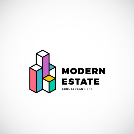 building estate: Modern Estate Abstract Template. Construction Sign. Building Concept Symbol. Isolated with Premium Typography. Illustration
