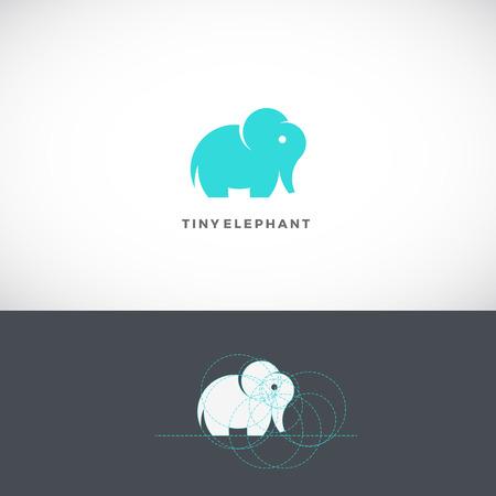 golden ratio: Minuscule Elephant Modèle Abstrait, Signe ou icône. Dessiné avec l'aide de Golden Ratio. Isolé.