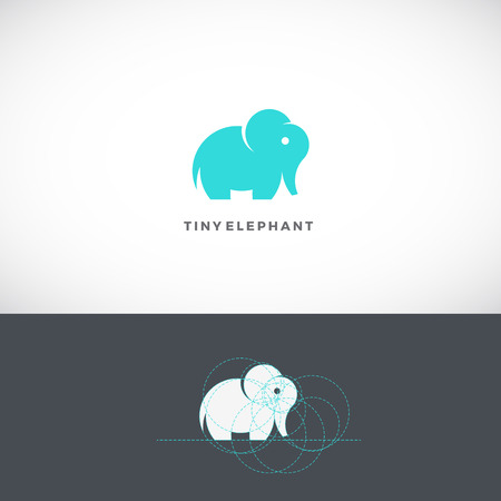 Tiny Elephant Abstract Template, Sign or Icon. Drawn with the Help of Golden Ratio. Isolated.