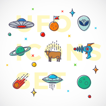 blaster: Outline Style UFO or Alien Icons Set. Premium Space Symbols and Signs. Bright Colors. Isolated. Illustration