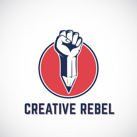 Creativa Rebel Resumen señal, símbolo, icono de plantilla. Revolución Puño mezclado con un concepto de lápiz en el círculo rojo. ESTIlIzAdoS mano. Aislado.