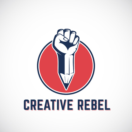 riot: Creative Rebel Abstract Sign, Symbol, Icon Template. Revolution Fist Mixed with a Pencil Concept in Red Circle. Stylized Riot Hand. Isolated. Illustration