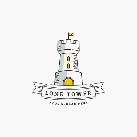 stronghold: Lone Tower Abstract Sign, Icon, Label Template in Line Style. Stronghold with a Flag and Typography Banner. Isolated. Illustration