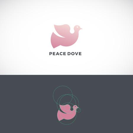 nombre d or: Peace Dove Abstract Vector Logo Template, Signer ou Icône. Dessiné avec l'aide de Golden Ratio. Isolé. Illustration