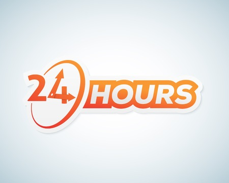 twenty four hours: Twenty Four Hours Open Vector Sticker, Sign or Signboard Template. Isolated.