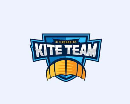 surf team: Kiteboarding Team Sport Emblem. Kite Symbol on a Shield with Typography. Illustration