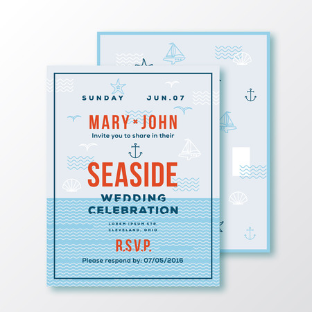 sea side: Sea Side Wedding Invitation Card or Ticket Template. Modern Typography and Nautical Symbols on Background. Red, Blue, White Colors. Soft Realistic Shadows. Isolated.