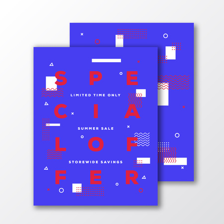soft colors: Special Offer Sale Poster, Card or Flyer Template. Modern Abstract Flat Swiss Style Background with Decorative Stripes, Zig-Zags and Minimal Typography. Bright Red Blue Colors. Soft Shadows. Isolated.