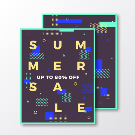 soft colors: Summer Sale Poster, Card or Flyer Template. Modern Abstract Flat Swiss Style Background with Decorative Stripes, Zig-Zags and Minimal Typography. Mint Blue Colors. Soft Shadows. Isolated. Illustration