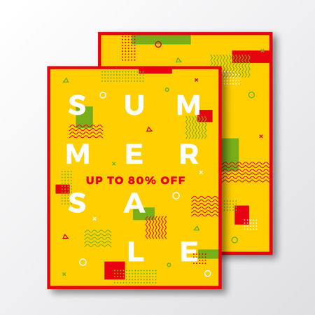 soft colors: Summer Sale Poster, Card or Flyer Template. Modern Abstract Flat Swiss Style Background with Decorative Stripes, Zig-Zags and Minimal Typography. Bright Red Yellow Green Colors. Soft Shadows. Isolated