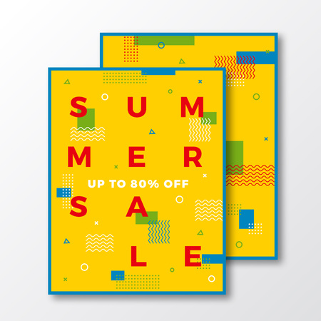 minimal: Summer Sale Poster, Card or Flyer Template. Modern Abstract Flat Swiss Style Background with Decorative Stripes, Zig-Zags and Cool Minimal Typography. Bright Colors. Soft Shadows. Isolated. Illustration