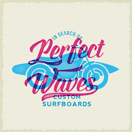 perfect waves: Perfect Waves Bike with Surfboard Abstract Retro Vector Label or Logo Template. Vintage Print Effect. Textured Background. Good for Posters, T-shirt Prints, etc. Illustration