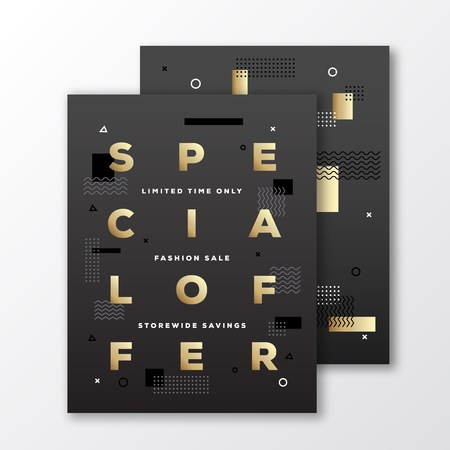 minimal: Special Offer Fashion Sale Poster, Card or Flyer Template. Modern Abstract Flat Swiss Style Background with Decorative Elements and Minimal Typography. Gold on Black. Soft Shadows. Isolated. Illustration