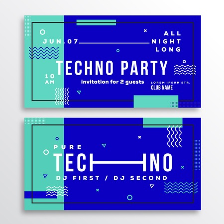 blue party: Night Techno Party Club Invitation Card or Flyer Template. Modern Abstract Flat Swiss Style Background with Decorative Elements and Typography. Mint, Blue Colors. Soft Realistic Shadows. Isolated.