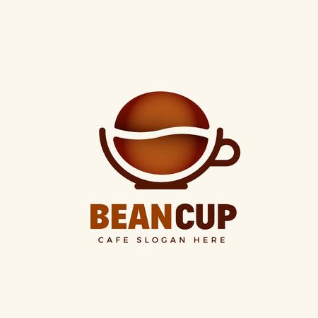 Bean Cup Abstract Vector Cafe logo modello. Chicco di caffè e una tazza di caffè Simbolo Concept. Isolato.