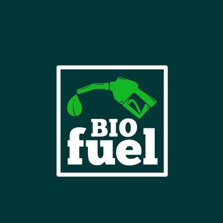 bio fuel: Vector Logo or Sign Template. Abstract Bio Fuel Concept. Fueling Pistol and a Leaf Symbol with Typography. On Dark Green Background.