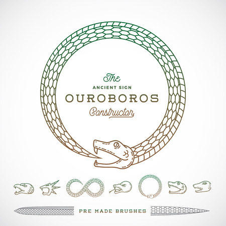 Abstract Vector Infinite Ouroboros Snake Symbol, Sign or a Logo Constructor in Line Style. Tails to make Brushes of Them. Five Different Heads and Two Type of Bodies. Isolated.