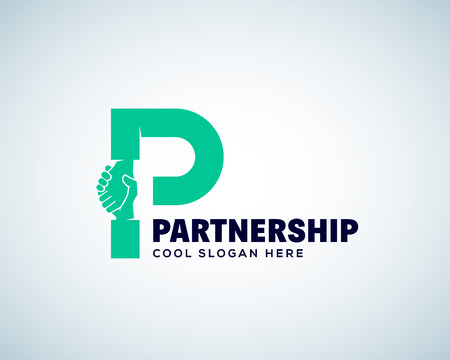 Partnership Abstract Vector Logo Template. Hand Shake Incorporated in Letter P Concept. Isolated.