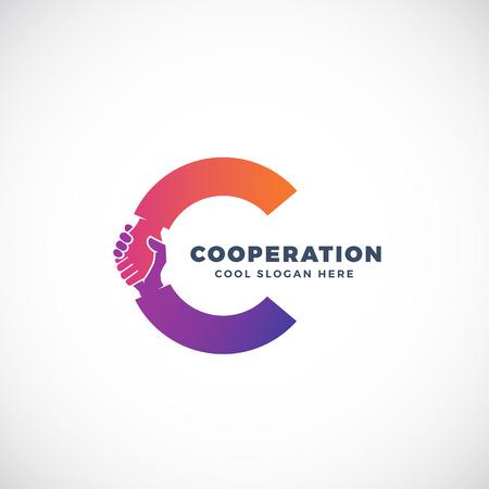 Cooperación signo abstracto del vector, símbolo o logotipo de la plantilla. Agitar parte Incorporated en la letra C Concept. Aislado.