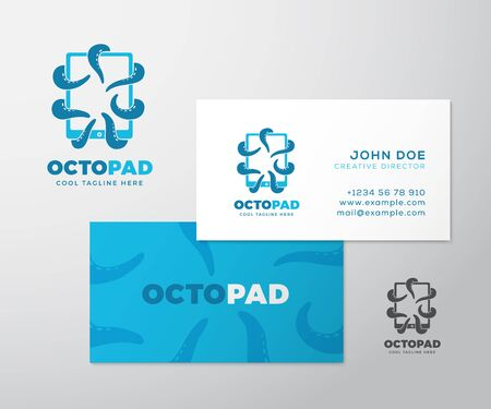 Abstract Vector Logo with Business Card Template or Mock-up. Octopus Tentacles Holding a Tablet with Touchscreen. Modern Typography and Realistic Soft Shadows. Isolated. Illustration