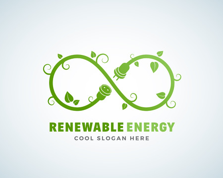 energy logo: Renewable Energy Abstract Vector Logo Template. Infinity Sign with Leaves, Sprouts, Plug and Socket Concept. Green, Eco Symbol. Isolated. Illustration