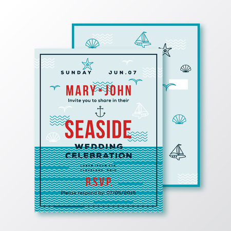 sea side: Sea Side Wedding Invitation Card or Ticket Template. Modern Typography and Nautical Symbols on Background. Red, Blue, Green, White Colors. Isolated.