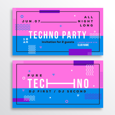 Night Techno Party Club Invitation Card Or Flyer Template Modern
