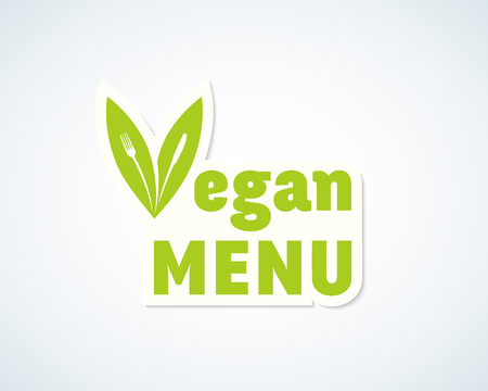 vegan: Vegan Menu Vector Sticker, Sign or Emblem. Fork and Knife in a Leafs Concept. Isolated.